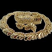 Vintage Crown Trifari Gold Plated Necklace, Bracelet, Earring Parure
