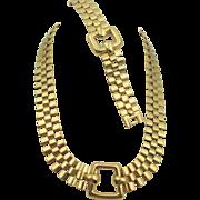 Vintage Monet Gold Plated Weave Necklace and Bracelet