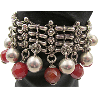 Vintage Sterling Silver Heavy Woven Bracelet with Faceted Carnelian Dangles 118 gr