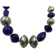 Vintage English Silver and Blue Glass Beaded Necklace