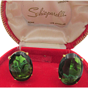 Vintage Signed Schiaparelli Emerald Green Oval Glass Clip Earrings