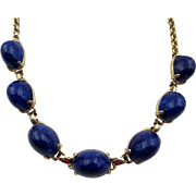 Vintage Schiaparelli Lapis Blue Polished Cabochon Necklace