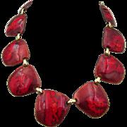 Vintage Signed Kay Denning Mid-Century Red Enamel Necklace