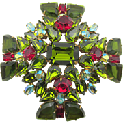 Huge Signed Regency Green Red Rhinestone Maltese Cross Brooch