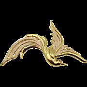 Vintage Trifari Enamel Rhinestone Bird in Flight 4 in.
