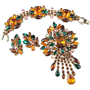 Vintage Amber and Green Rhinestone Brooch, Bracelet and Earring Parure