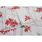 Vintage 1950s Poinsettia Holiday Tablecloth and Six Napkins