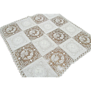 Vintage White Combination Cutwork, Embroidery and Filet Lace Square Tablecloth