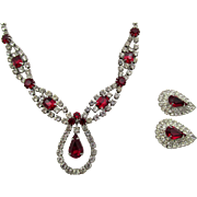 Vintage Kramer Red Rhinestone Necklace and Earring Set