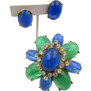Vintage Flawed Sapphire and Flawed Emerald Cabochon Rhinestone Brooch and Earring Set