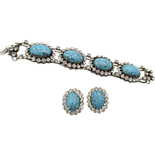 Vintage Signed Italy Faux Turquoise Cabochon with Rhinestone Bracelet and Earrings