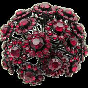 Gorgeous Vintage Signed Warner Red Domed Brooch