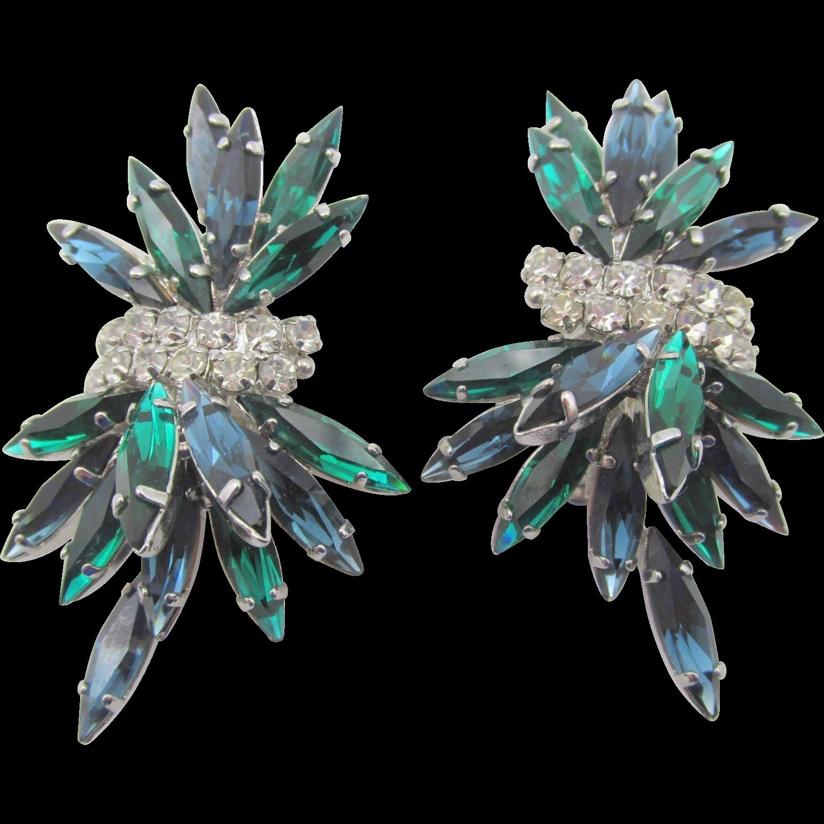 Vintage  B.E. Cook London Blue and Green Rhinestone Earrings