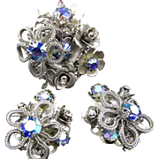 Vintage Signed Kramer Silver-Tone  Rhinestone Brooch and Earrings