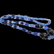 Vintage Venetian Murano Wedding Cake Blue Glass Necklace