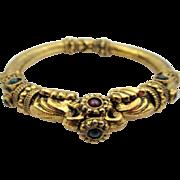 Vintage Etruscan Style Cabochon Clamp Bracelet