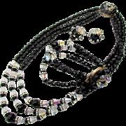 Vintage Jet Black and Crystal Necklace, Bracelet and Earring Parure