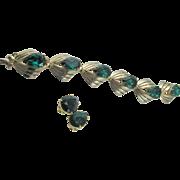 Vintage Signed Schiaparelli Emerald Rhinestone Gold Plated Bracelet and Earrings