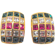 """Vintage Channel Set """"Jewels of India"""" Clip Earrings"""