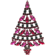 Signed Cristobal London Rhinestone Christmas Tree Brooch