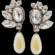 Vintage Crystal Rhinestone Faux Pearl Drop Earrings