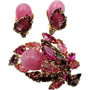 Vintage Signed Schreiner Art Glass Brooch and Earrings