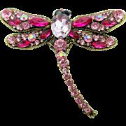 Vintage Kenneth Jay Lane Rhinestone Dragonfly Brooch
