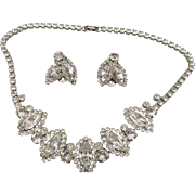 Weiss Crystal Rhinestone Rhodium Plated Necklace and Earring Set