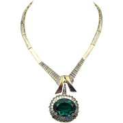 Vintage Panetta Emerald and Crystal Baguette Rhinestone Necklace