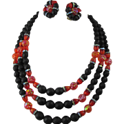 Striking Hobe Black and Red Lava Glass Beaded Necklace and Earring Set