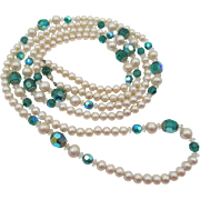 Vintage Vendome 64 Inch Rope Faux Pearl Beaded Necklace