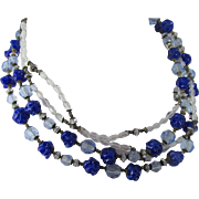 Signed Miriam Haskell Four Strand Blue Art Glass Beaded Necklace