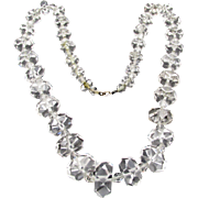 Vintage Art Deco Rock Crystal Quartz Faceted Necklace