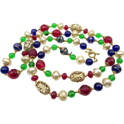 "Estate Jewel Tone Glass Beaded 36"" Necklace"