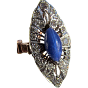 Antique Art Deco Blue Star Sapphire Diamond  14k Gold Filigree Ring