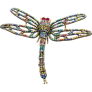 Vintage Butler and Wilson Multi Color Rhinestone Dragonfly