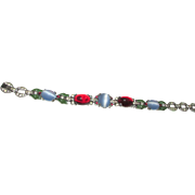 Vintage KTF Trifari Moonstone and Ruby Red Glass Enamel Bracelet