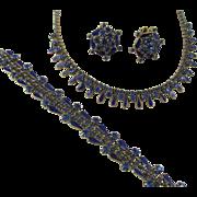 Weiss Midnight Blue Rhinestone and Navy Enamel Parure