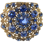 Brass Filigree Royal Blue Rhinestone Hinged Dress Clip 1940s