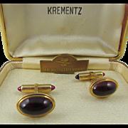 Krementz  Art Deco 14kt Gold Overlay Red Lucite Cuff links in Original Box