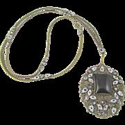 Art Deco Czech Enamel Necklace Brass Filigree Necklace