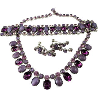 Joseph Wiesner NY Purple Rhinestone and Frosted Cabachon Parure