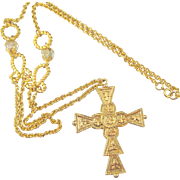 Signed ART Opera Length Cross Chain Necklace