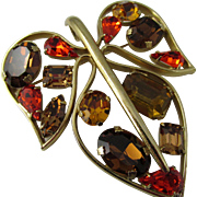 Napier Topaz Rhinestone Leaf Pin/Pendant by Eugene Bertolli