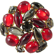 Vintage Red and Gray Cabochon and Rhinestone Brooch