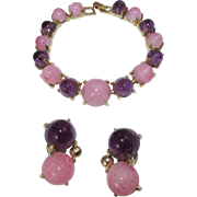 Vintage Schiaparelli Pink and Purple Cabochon Bracelet and Earring Set