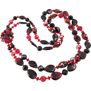 """Vintage Red and Black Art Glass Double Strand 24"""" Necklace"""