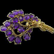 "Vintage 1940s Purple Rhinestone Gold Plated 3.75"" Huge Brooch"