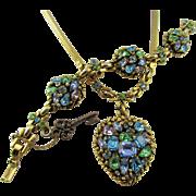 Vintage Signed Barclay Rhinestone Heart Pendant and Bracelet Set