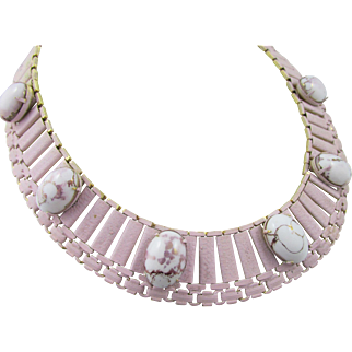 Schiaparelli Egyptian Revival Pink and White Cabochon Necklace